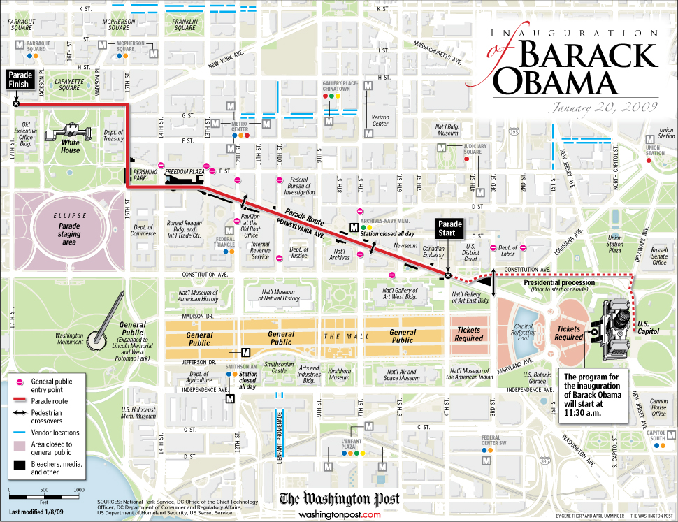 Map The Inauguration of Barack Obama 44th President of the – Washington Dc Tourist Map Pdf