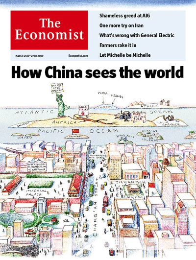 Mental Map How China Sees The World Economist Kelsos Corner - Us map with world map in the corner
